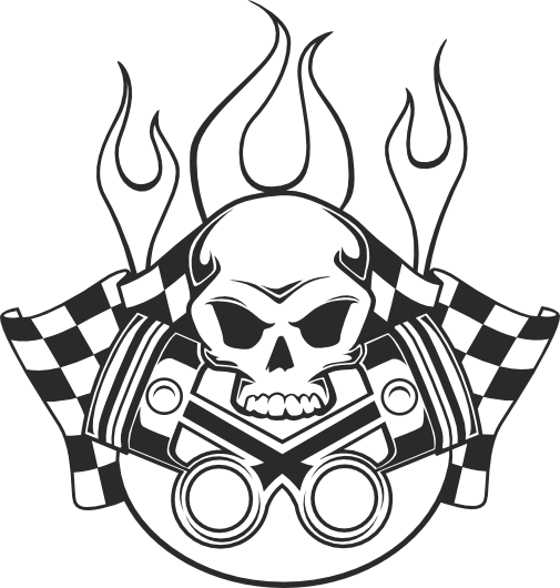 racing skull wall decal stickersstickers